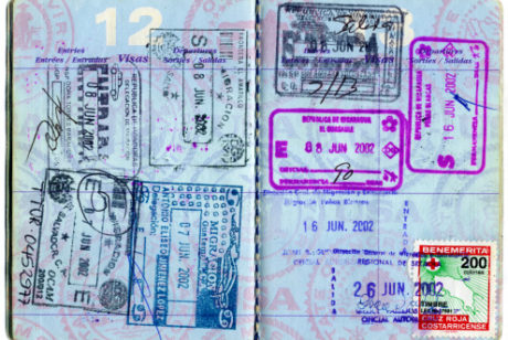 Passport with visa stamps 115014649