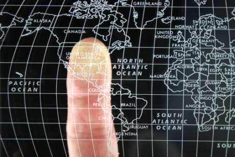 Finger on Glass World Map 140456209
