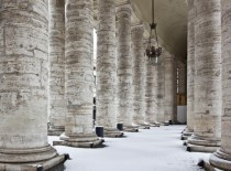 Colonnade with snow, St. Peter's Basilica, Vatican. 149137675